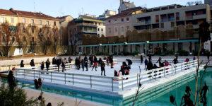 Зимой бассейн Bagni Misteriosi в Милане превращается в каток.