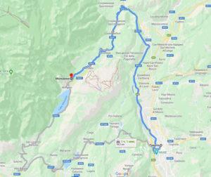 Схема проезда от Тренто до Мольвено